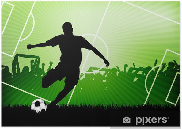 Plakat samoprzylepny Piłka nożna w tle -
