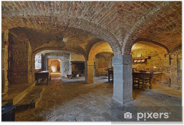 Plakat samoprzylepny Piwnica wnętrze zamku Lavaux-Sainte-Anne. Rochefort. Ard - Europa