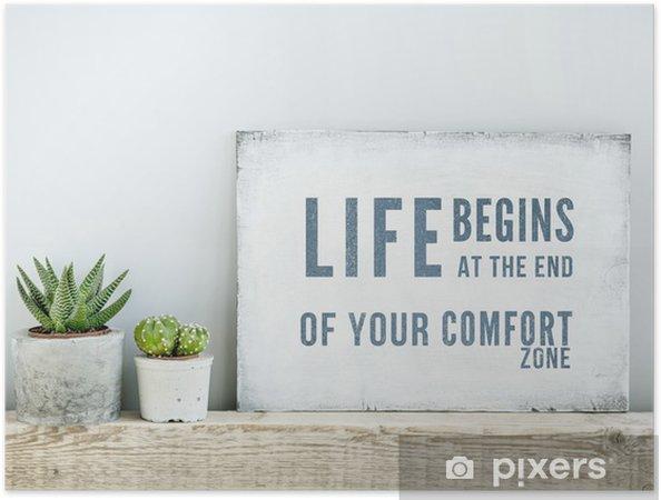 Plakat samoprzylepny Plakat motywacyjny cytat życie zaczyna NA KONIEC Comfort Zone - Tematy