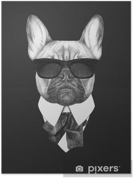 Plakat samoprzylepny Portret Buldog francuski w kolorze. Ręcznie rysowane ilustracji. - Buldogi francuskie