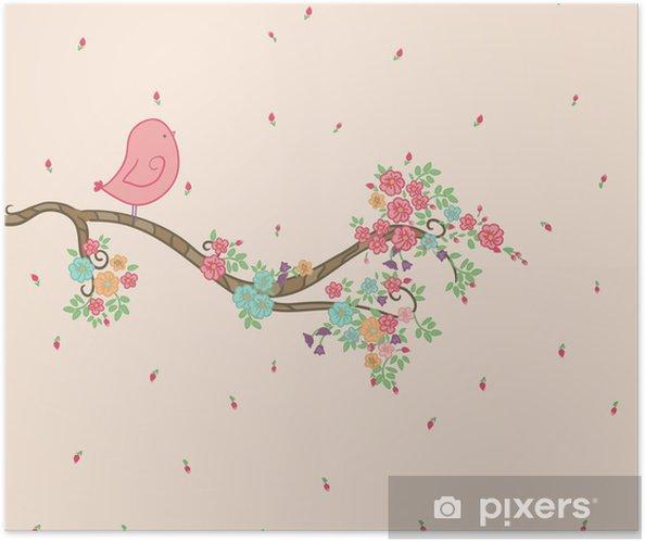 Plakat samoprzylepny Ptak na gałęzi kwiatowy - Dla przedszkolaka
