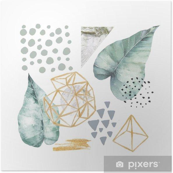 Plakat samoprzylepny Ręcznie rysowane ilustracji z elementami akwarela i marmur. Skandynawski projekt. - Zasoby graficzne