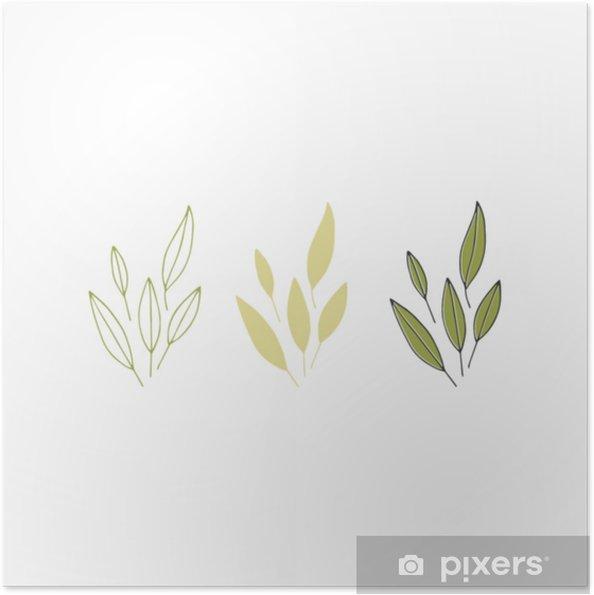 Plakat samoprzylepny Ręcznie rysowane kwiatowy obiekt - Zasoby graficzne