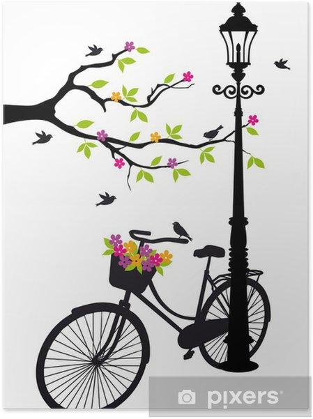 Plakat samoprzylepny Rower z lampy, kwiaty i drzewa, wektor -