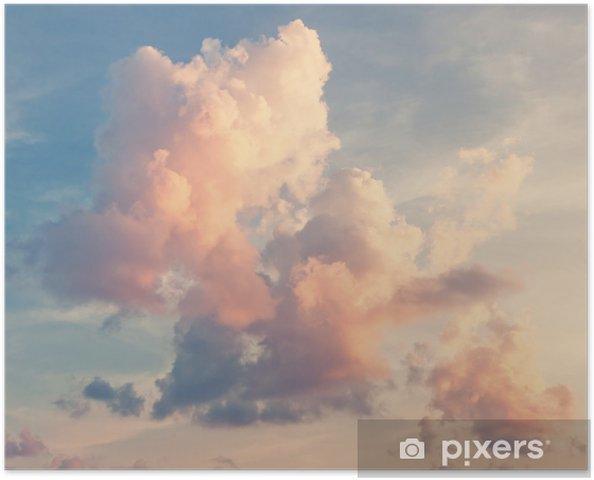 Plakat samoprzylepny Różowe chmury na niebieskim niebie -