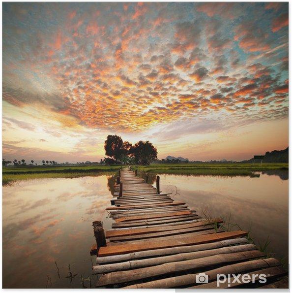 Plakat samoprzylepny Rzeka na zachód słońca -
