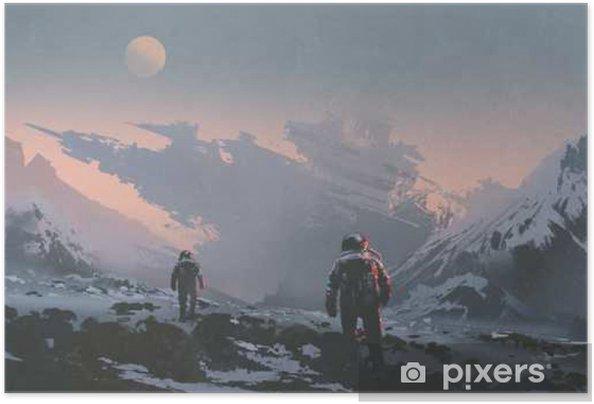Plakat samoprzylepny Sci-fi pojęcie astronautów chodzących do opuszczenia statku kosmicznego na obcej planecie, ilustracja malarstwo - Hobby i rozrywka