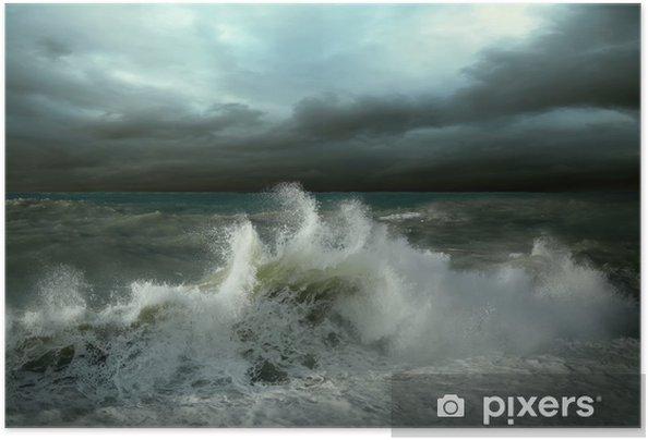 Plakat samoprzylepny Seascape widok burzy - Klęski żywiołowe