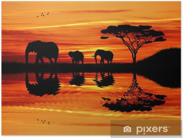 Plakat samoprzylepny Słoń sylwetka na zachodzie słońca - Słonie
