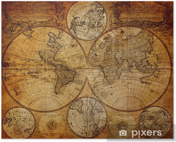Plakat samoprzylepny Stara mapa (1746) -
