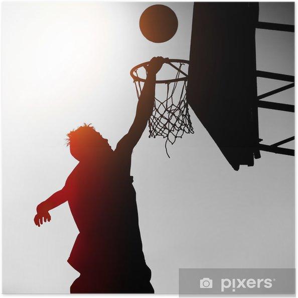 Plakat samoprzylepny Sylwetka Basketbal Playera - Koszykówka