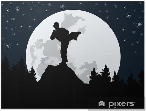 Plakat samoprzylepny Sylwetka fighter - noc - Tematy