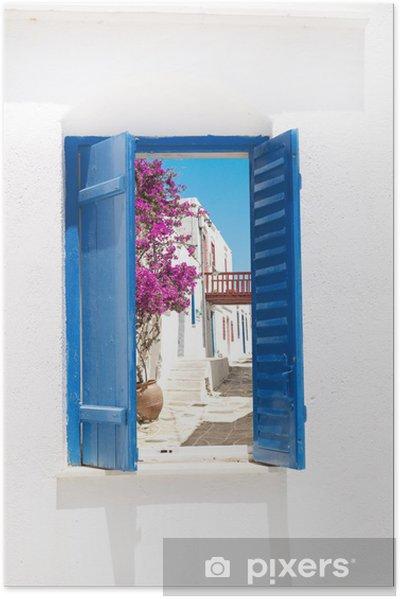 Plakat samoprzylepny Tradycyjne greckie okno na Sifnos island, Grecja - Tematy