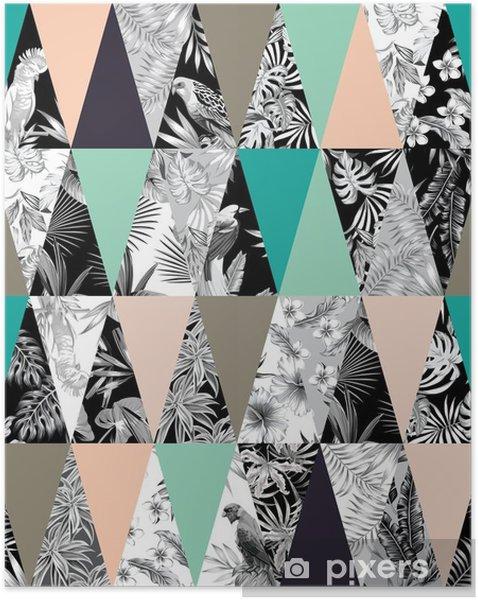 Plakat samoprzylepny Tropikalne patchwork bezszwowe tło - Zwierzęta