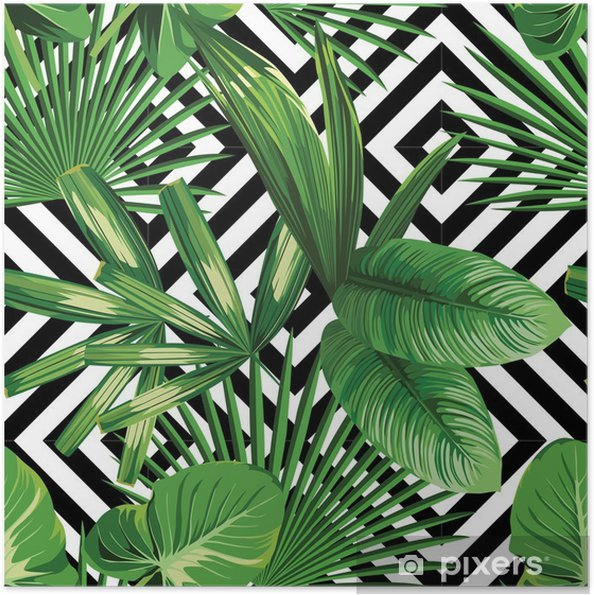 Plakat samoprzylepny Tropikalnych liści palmowych, geometryczny wzór tła - Canvas Prints Sold