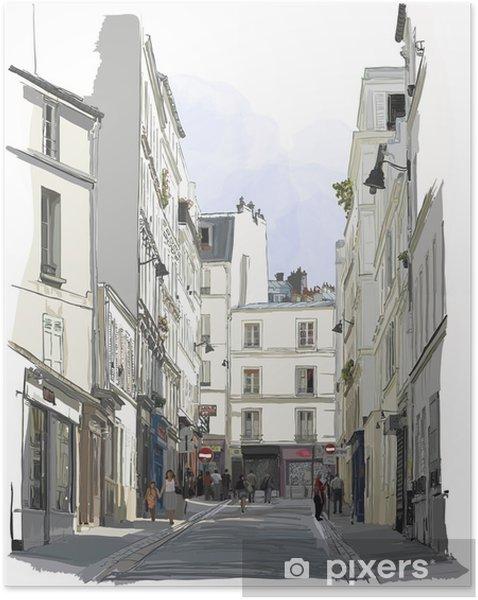 Plakat samoprzylepny Ulicy w pobliżu Montmartre w Paryżu - Budynki i architektura