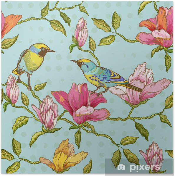 Plakat samoprzylepny Vintage szwu tła - kwiaty i ptaki - Pory roku