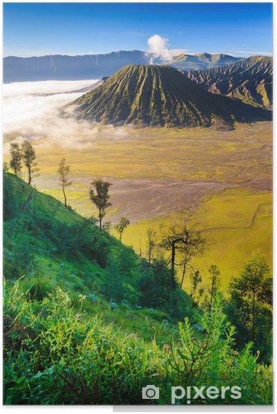 Plakat samoprzylepny Vocalno wschód słońca na Bromo, Jawa Wschodnia, Indonezja - Azja