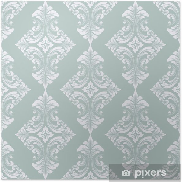 Plakat samoprzylepny Wektor barok bezszwowe tło wzór. klasyczny luksus staroświecki barokowy ornament, królewski wiktoriański bez szwu tekstury do tapet, tekstylne, owijania. wykwintny kwiatowy barokowy szablon - Zasoby graficzne