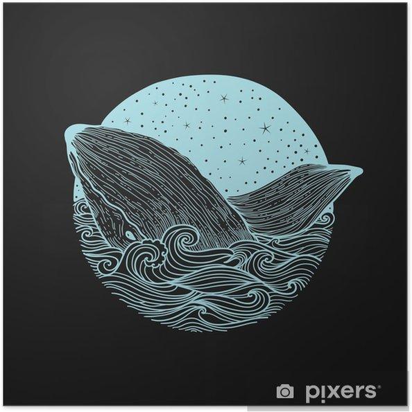 Plakat samoprzylepny Whale skoków z fal na tle nocnego nieba i gwiaździste fale curl z elementami doodle zentangle, projektowanie do druku odzieżowym, karty, zaproszenia, druk cover.isolated na białym tle - Zwierzęta