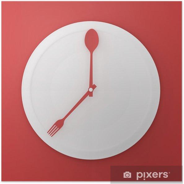Plakat samoprzylepny Widok z góry łyżka i widelec na biały okrągły talerz w formie zegara na czerwonym tle. minimalna koncepcja pomysłu na jedzenie. pomysł kreatywny do produkcji komunikacji marketingowej i stron internetowych. - Zasoby graficzne