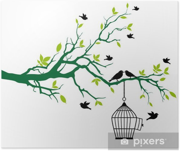 Plakat samoprzylepny Wiosną drzewo z Klatka dla ptaków i całuje ptaków - Drzewa i liście