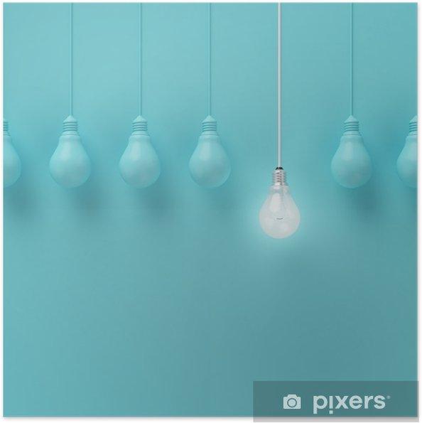 Plakat samoprzylepny Wiszące żarówki świecące jeden inny pomysł na jasnoniebieskim tle, minimalne pojęcie idei, płaskiej nieprofesjonalnych, górnym - Biznes