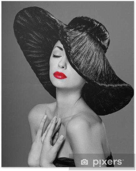 Plakat samoprzylepny Wspaniała kobieta w kapeluszu - Moda