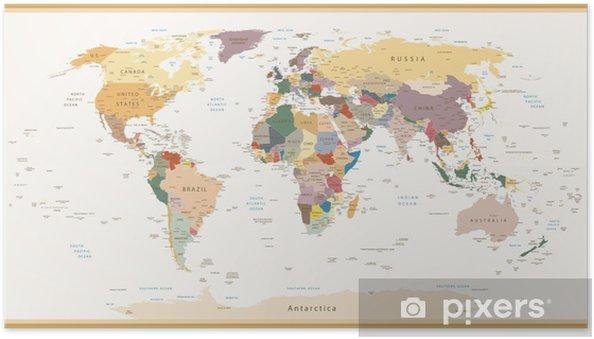 Plakat samoprzylepny Wysoce Szczegółowe polityczne Mapa świata Vintage Kolory - Tematy