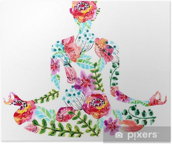 Plakat samoprzylepny Yoga, akwarela jasne kwiatów ilustracji - Naklejki na ścianę