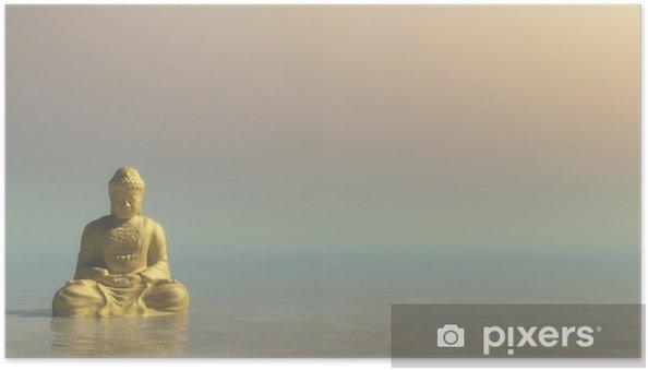 Plakat samoprzylepny Złoty Budda - 3D render - Zasoby graficzne