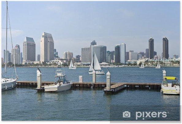Plakat San Diego skyline i mała przystań. - Ameryka