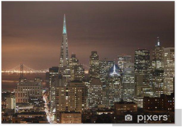 Plakat San Francisco - noc panorama - Ameryka