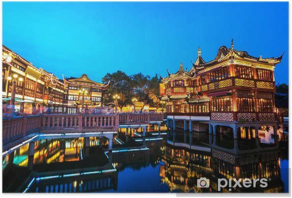 Plakát Šanghaj yuyuan zahrada s odrazem - Město