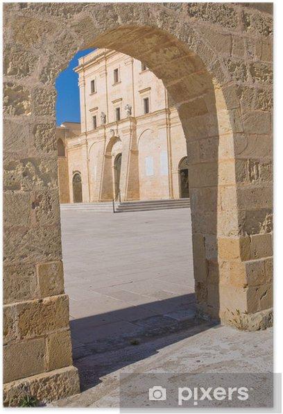Plakat Sanktuarium Santa Maria di Leuca. Apulia. Włochy. - Wakacje
