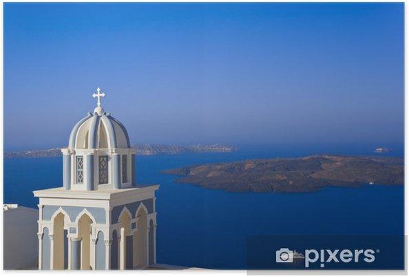 Plakat Santorini kościół - Grecja - Wakacje