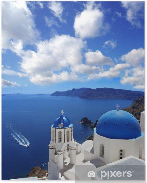 Plakat Santorini Z Tradycyjnego Kościoła W Oia Grecja