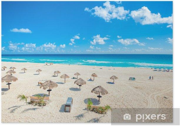 Plakat Scena na plaży w Cancun, Meksyk - Wakacje
