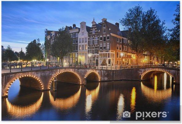 Plakat Scena nocy na kanale w Amsterdamie - Miasta europejskie
