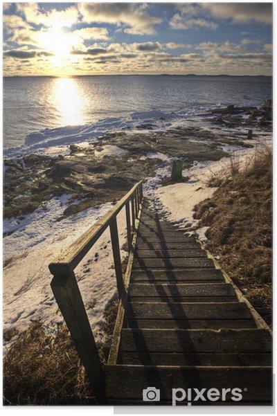 Plakat Schody na plaży w zimie - Tematy