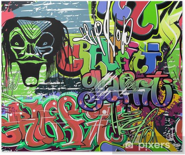 Plakat Ściany graffiti wektor powtarzalne tła - Tematy