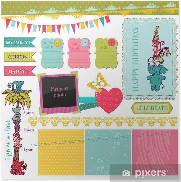 Plakat Scrapbook Design Elements Zestaw Dla Niemowląt Urodziny W Wektorze
