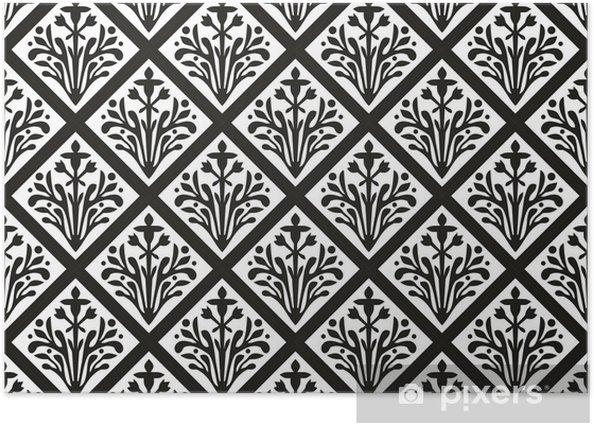 Plakat Seamless geometryczny gothic kwiatowy ornament wektor - Europa