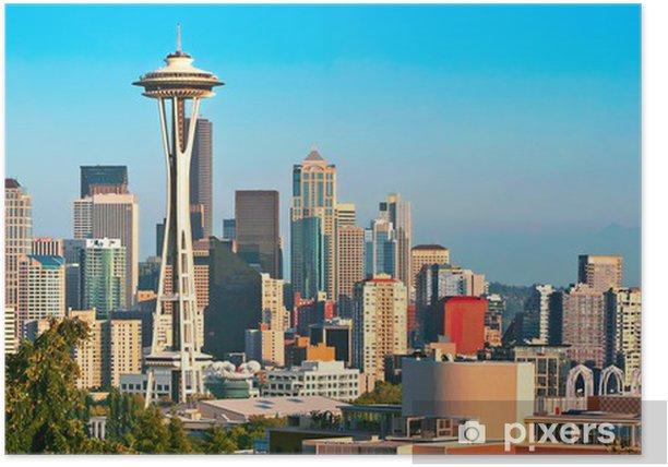 Plakat Seattle skyline panoramy na zachód słońca widziany z Kerry Park - Miasta amerykańskie