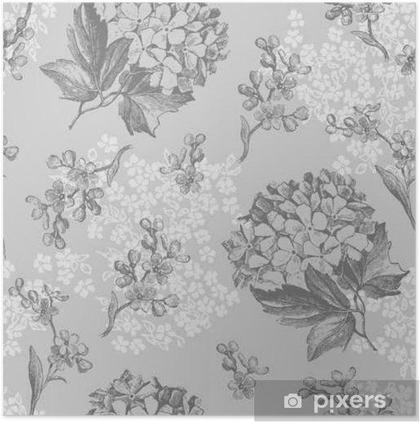 Plakát Šedé květy bezešvé vzor - Rostliny a květiny