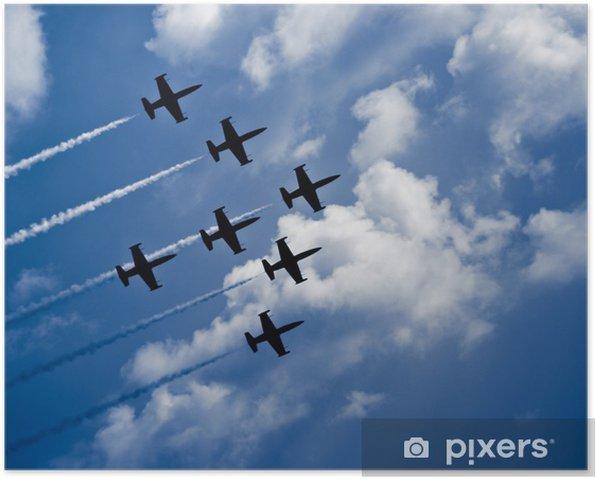 Plakát Sedm trysková letadla s bílými pláštích ve formaci - Vzduch
