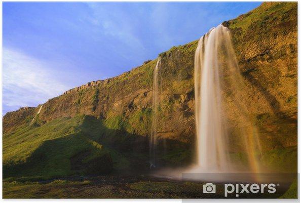 Plakat Seljalandfoss Wodospad o zachodzie słońca, Islandia - Europa