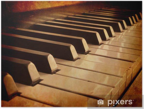 Plakat Sepia Piano Keys - Muzyka