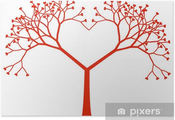 Plakat Serce, drzewo, wektor - Szczęście