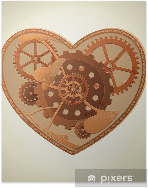 Plakat Serce steampunk - Steampunk